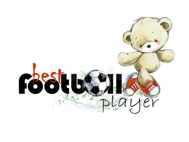 Ejemplo dibujado mano linda de la acuarela del jugador de fútbol del oso de peluche El mejor futbolista ilustración del vector
