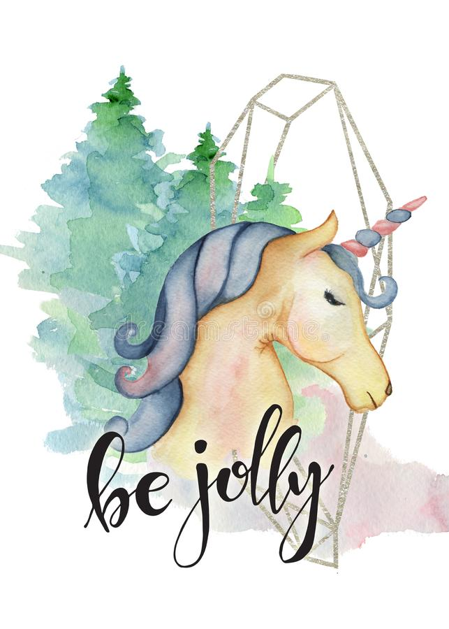 Ejemplo dibujado mano linda de la Feliz Navidad de la acuarela del unicornio libre illustration