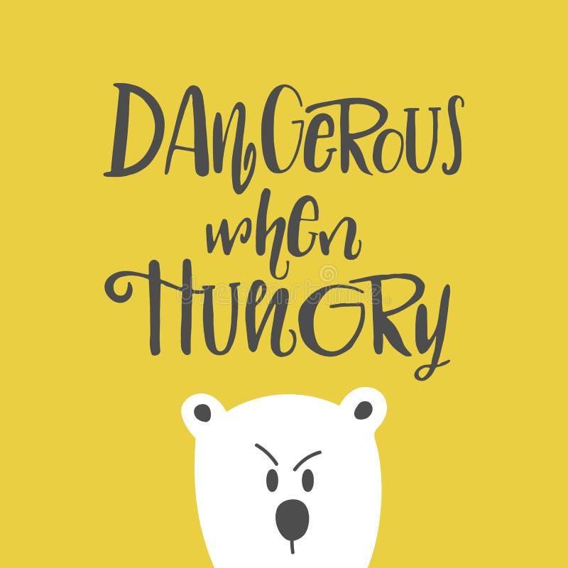 Ejemplo dibujado mano linda de la historieta con poner letras peligroso cuando está hambriento stock de ilustración