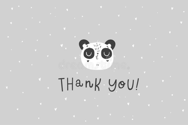 Ejemplo dibujado mano linda de la panda Gracias cardar libre illustration
