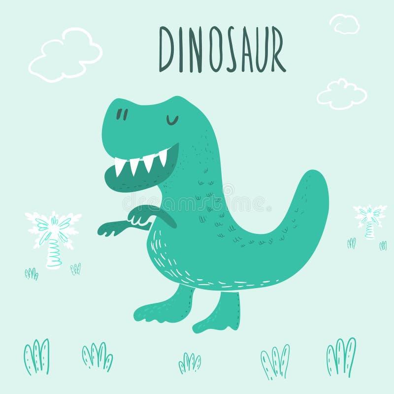 Ejemplo dibujado mano linda del dinosaurio Impresión del vector ilustración del vector