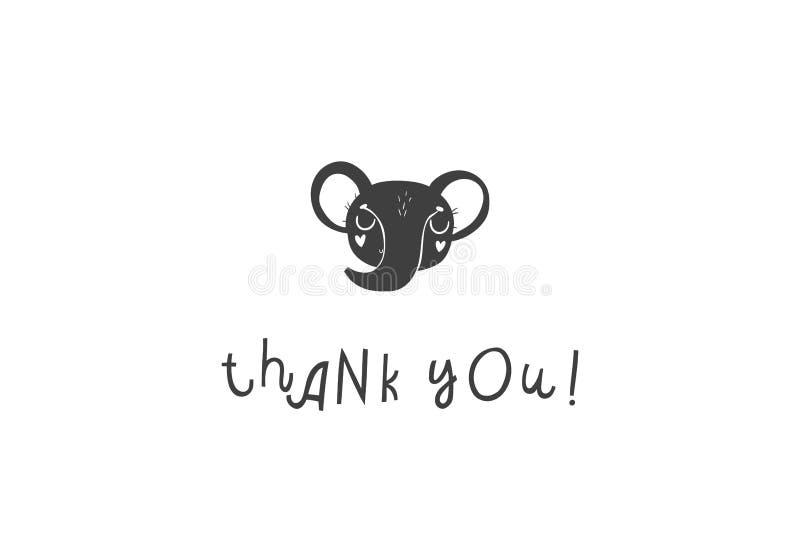Ejemplo dibujado mano linda del elefante Gracias cardar libre illustration