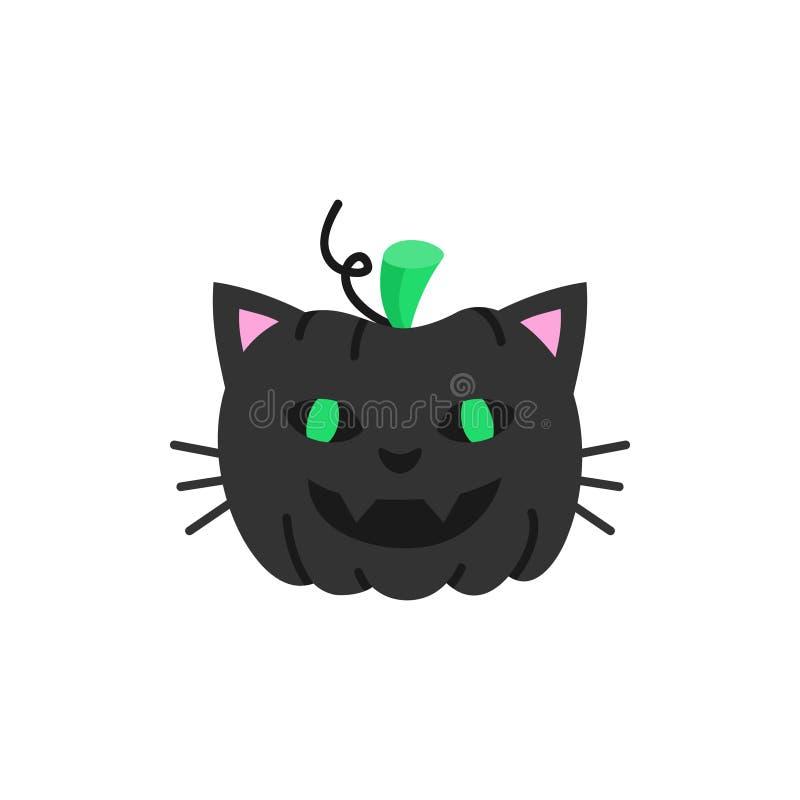 Ejemplo dibujado mano linda del vector de la calabaza del gato de Halloween stock de ilustración