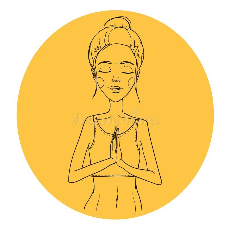 Ejemplo dibujado mano - yoga de la mujer Relájese Vector ilustración del vector