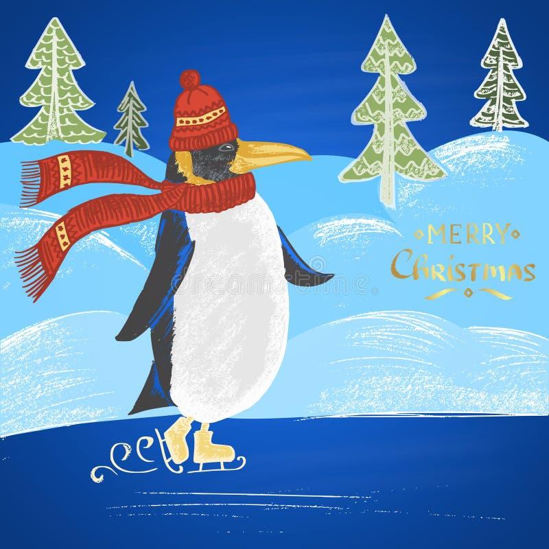 Ejemplo dibujado tiza coloreado con el pingüino patinador en un sombrero con la bufanda, el texto, las nieves acumulada por la ve stock de ilustración