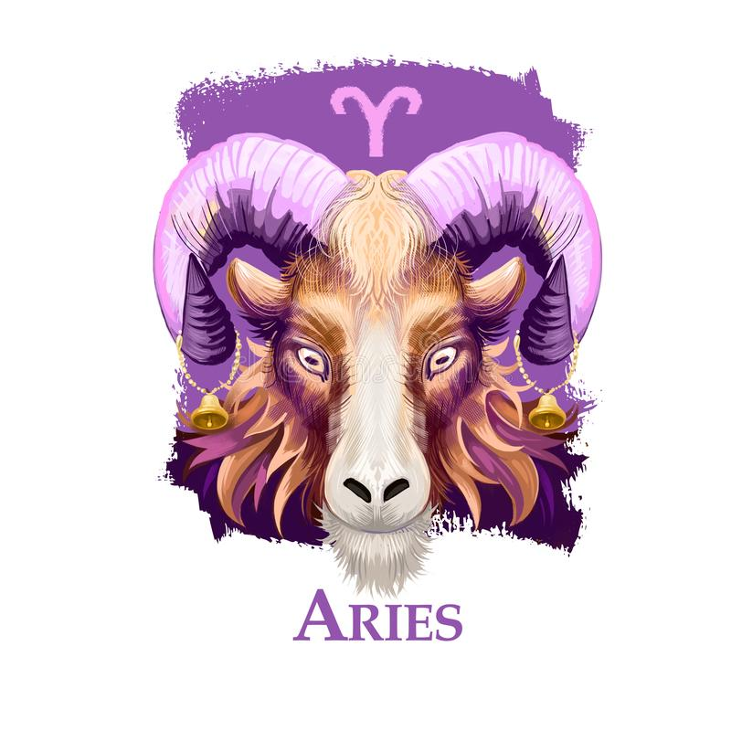 Ejemplo digital creativo del aries astrológico de la muestra Primero de doce firma adentro el zodiaco Elemento del fuego del horó ilustración del vector