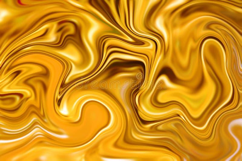 Ejemplo digital del fondo abstracto de mármol Diseño líquido de la superficie del oro fotografía de archivo