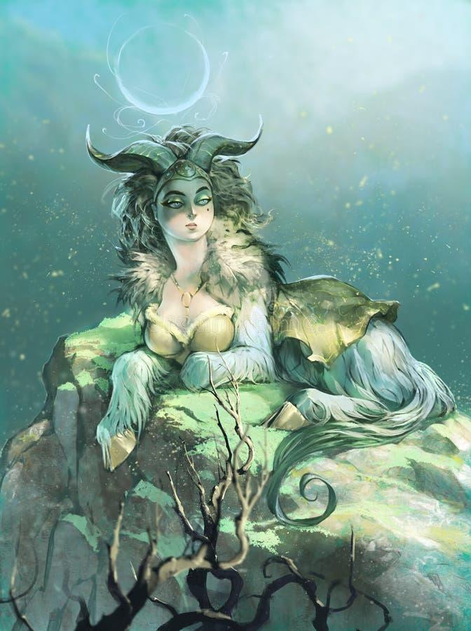 Ejemplo digital original de un zodiaco hermoso, elegante del Capricornio como mujer de la cabra ilustración del vector