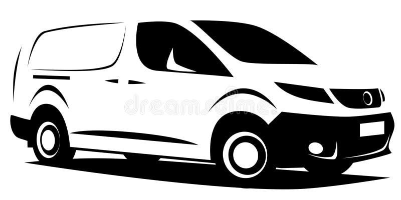 Ejemplo dinámico de una pequeña furgoneta de entrega comercial ilustración del vector