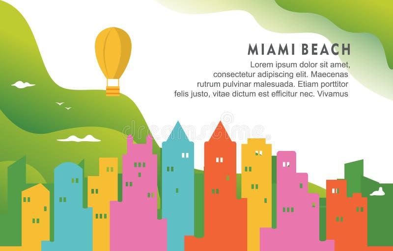 Ejemplo dinámico del fondo del horizonte del paisaje urbano del edificio de la ciudad de Miami Beach la Florida ilustración del vector