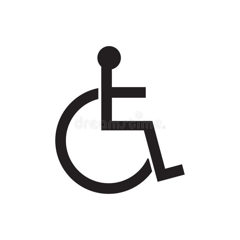 Ejemplo discapacitado del vector del icono de la muestra Ser humano en símbolo perjudicado silla de ruedas libre illustration
