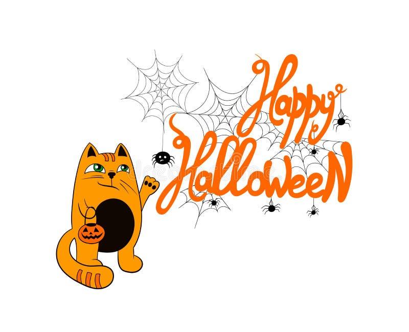 Ejemplo divertido de Halloween del vector: Letras del feliz Halloween con las arañas y el gato lindo con el bolso de la calabaza, stock de ilustración