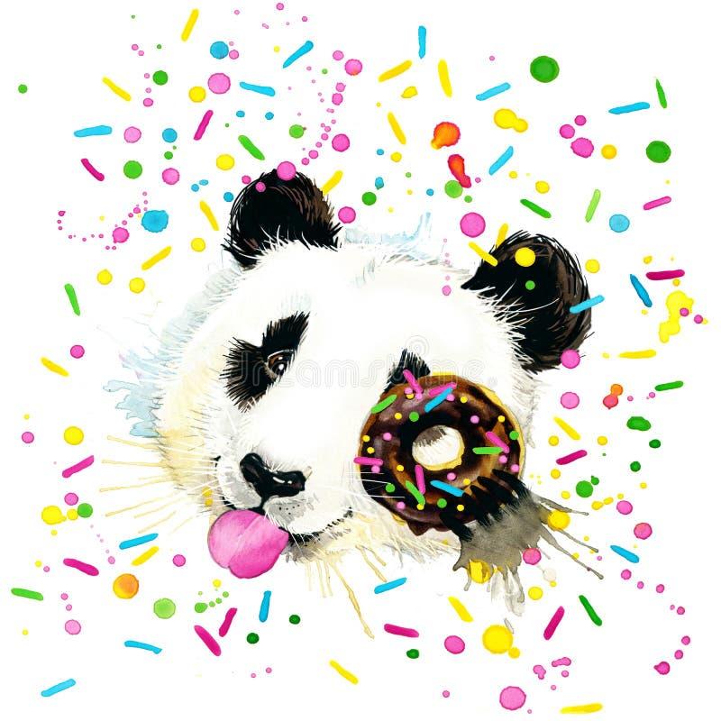 Ejemplo divertido de la acuarela de Panda Bear ilustración del vector