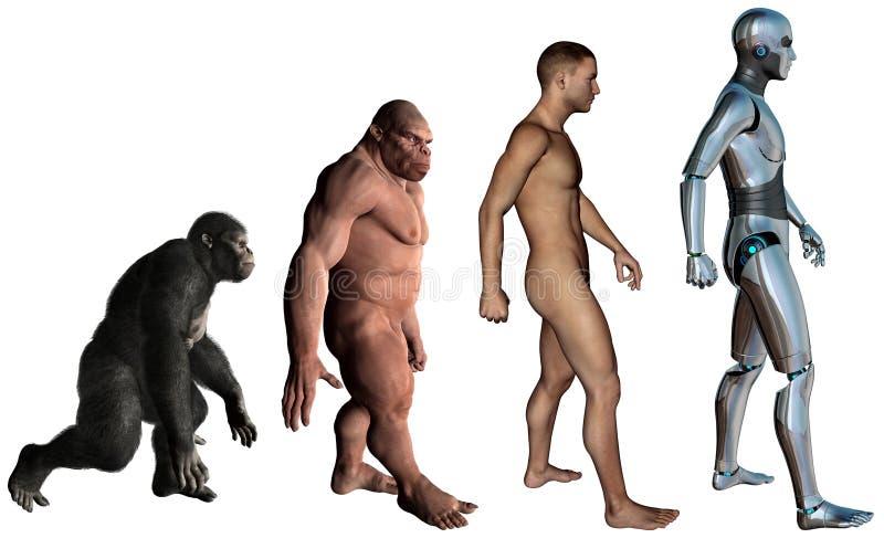 Ejemplo divertido de la evolución del hombre aislado ilustración del vector