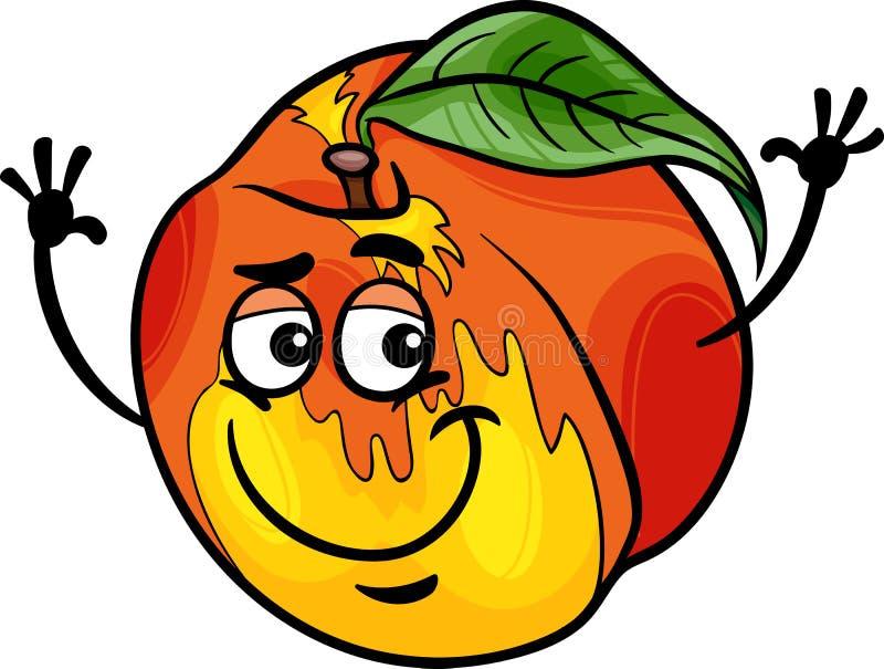 Ejemplo divertido de la historieta de la fruta del melocotón stock de ilustración