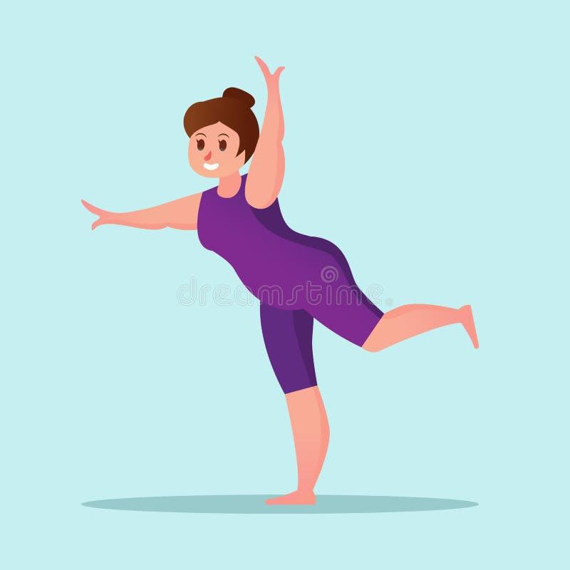 Ejemplo divertido de la historieta de la mujer joven del entrenamiento obeso de la yoga libre illustration