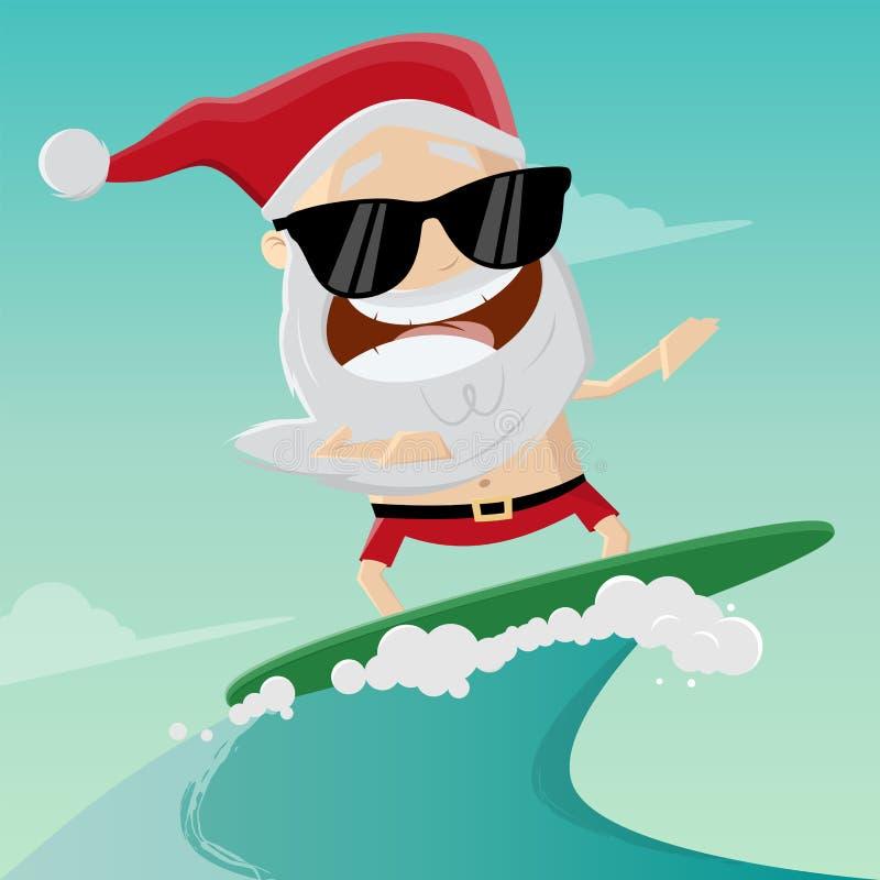 Ejemplo divertido de la historieta de un Papá Noel que practica surf ilustración del vector