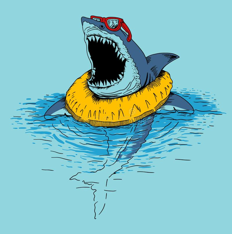 Ejemplo divertido de la impresión del tiburón ilustración del vector
