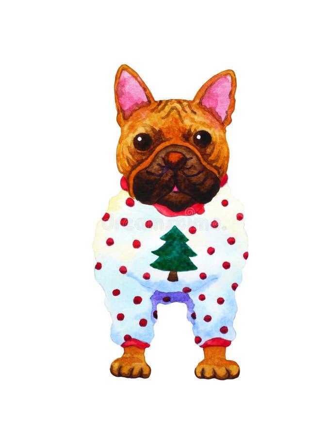 Ejemplo divertido de la pintura de la acuarela del perro del arte del dogo francés libre illustration