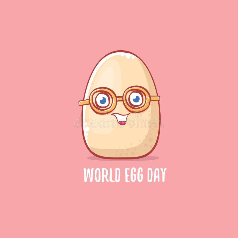 Ejemplo divertido del concepto del día del huevo del mundo con el carácter lindo del kawaii de la historieta del huevo blanco ais libre illustration