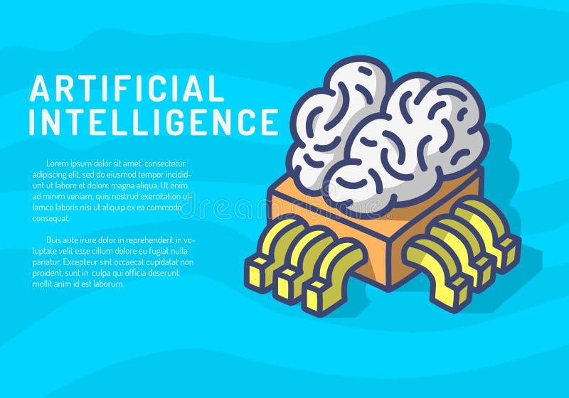 Ejemplo divertido del diseño de la inteligencia artificial de la historieta exhausta temática de la mano con el procesador Chip A ilustración del vector