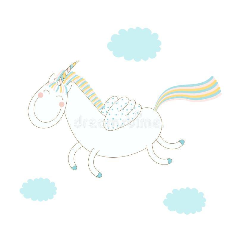 Ejemplo divertido del unicornio ilustración del vector