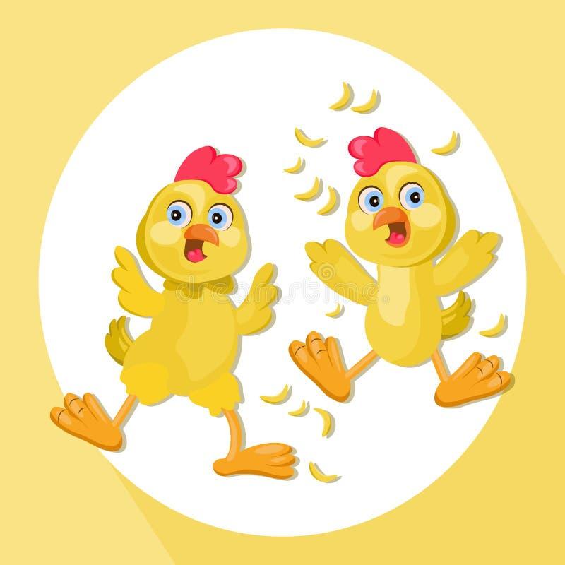 Ejemplo divertido del vector de la historieta del pollo Historieta divertida del pollo El animal doméstico asustado hace frente a ilustración del vector
