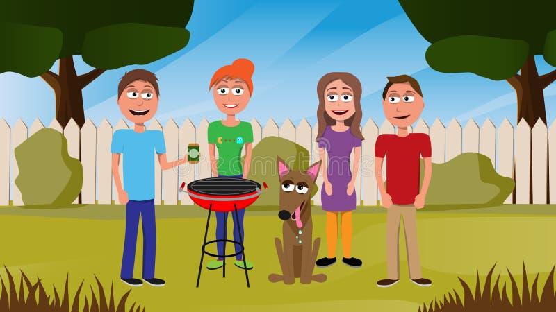 Ejemplo divertido del vector de los amigos que se colocan en jardín ilustración del vector