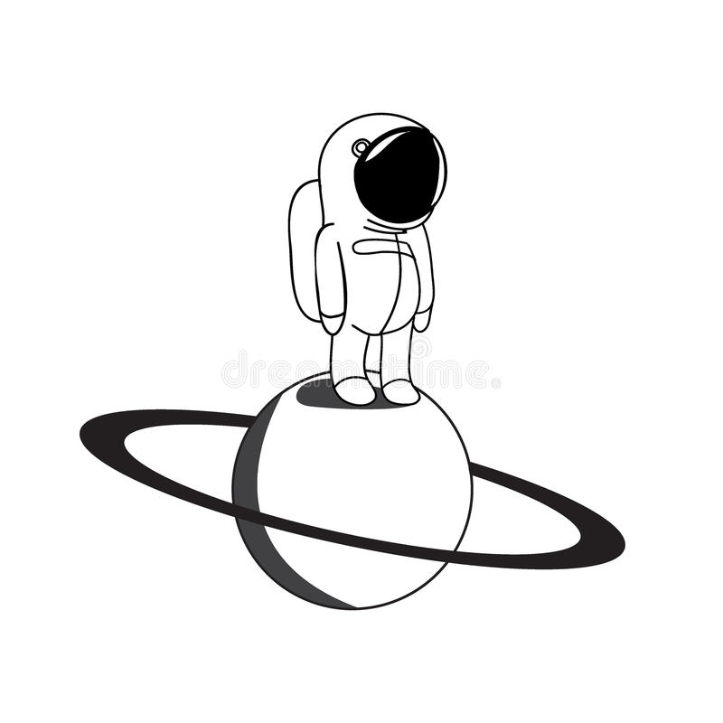 Ejemplo divertido del vector del astronauta stock de ilustración
