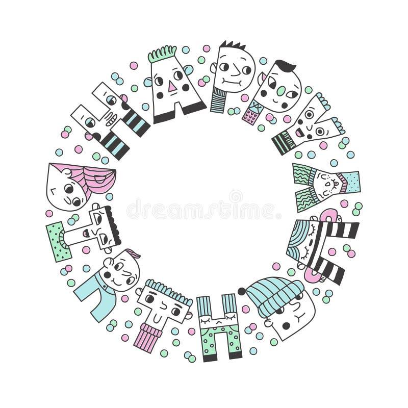 Ejemplo divertido manuscrito del círculo de las letras del feliz cumpleaños stock de ilustración