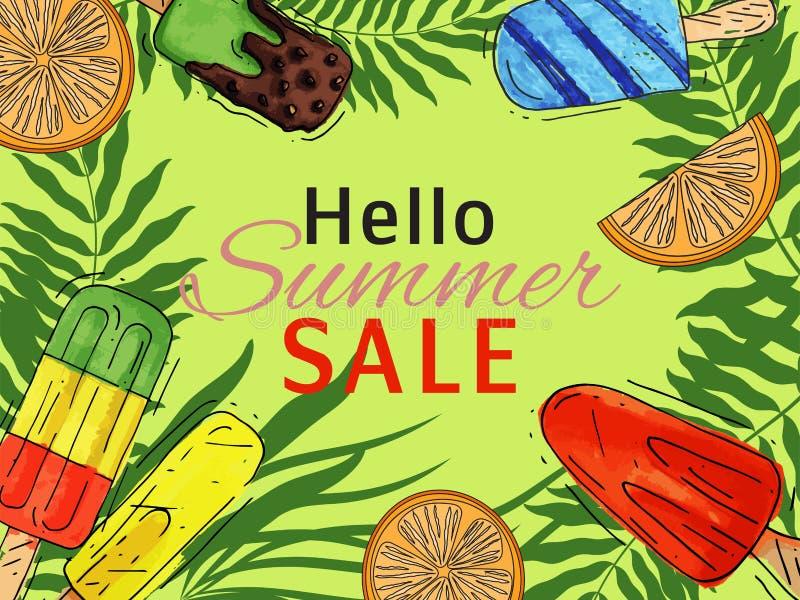 Ejemplo dulce fresco del cartel del verano del hola del helado y frío natural del vector de la comida Cono sabroso hecho en casa  ilustración del vector