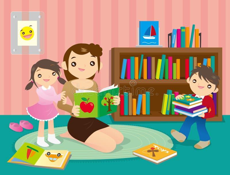 Diversión de la familia en biblioteca ilustración del vector
