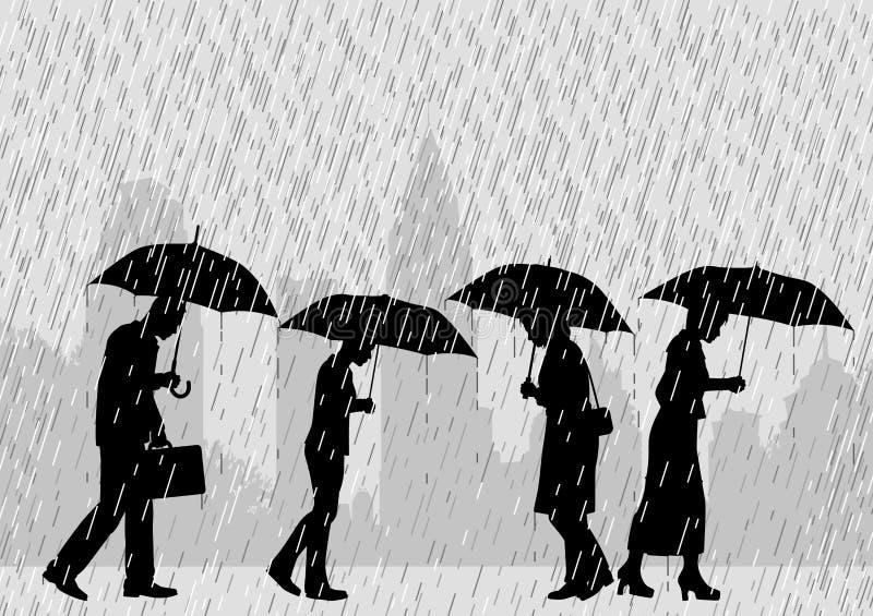 Gente de la lluvia stock de ilustración