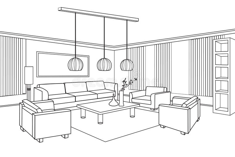 Ejemplo Editable del vector de un bosquejo del esquema de un interior ilustración del vector
