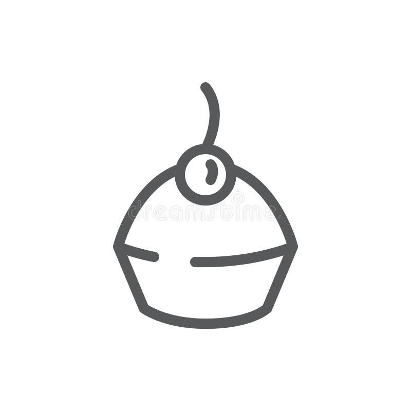 Ejemplo editable del vector del icono del mollete - línea fina negra pictograma de postre cocido dulce adornado con la cereza stock de ilustración
