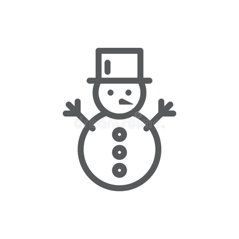 Ejemplo editable del vector del icono del muñeco de nieve - línea fina símbolo del invierno del ocio activo y divertido stock de ilustración