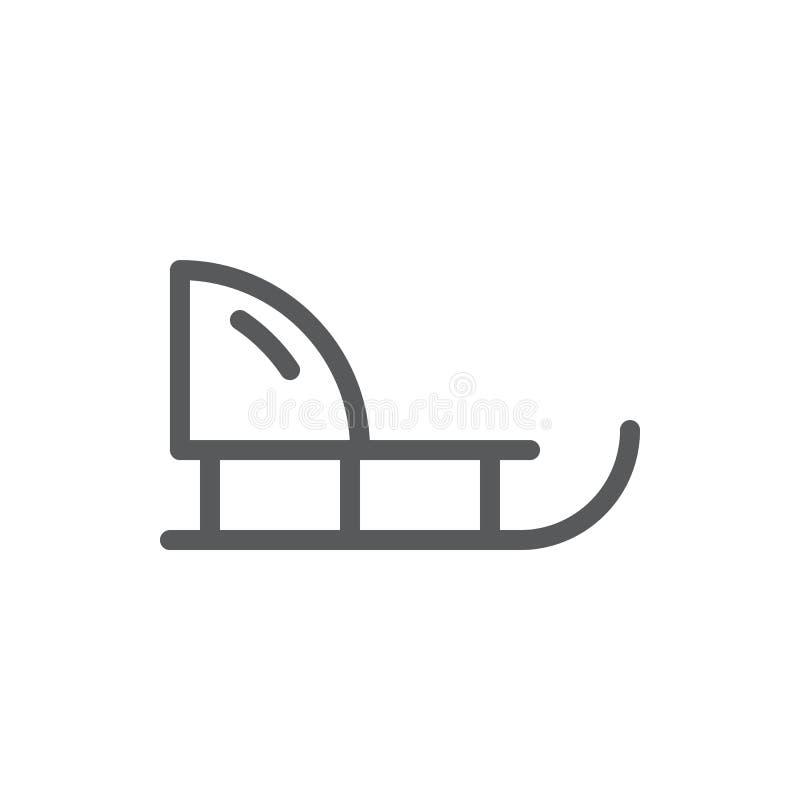 Ejemplo editable del vector del icono del trineo - resuma el símbolo del equipo del invierno para el ocio activo y divertido stock de ilustración