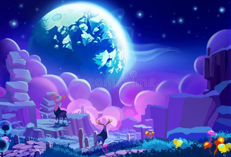 Ejemplo: El ambiente del otro planeta ilustración del vector