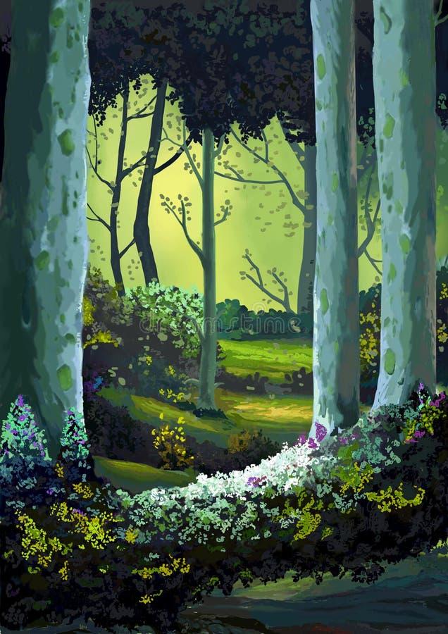 Ejemplo: El bosque por completo de memorias stock de ilustración