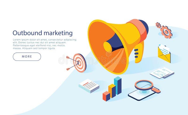 Ejemplo el extranjero del negocio del vector del márketing en diseño isométrico Fondo off-line o de la interrupción del márketing stock de ilustración