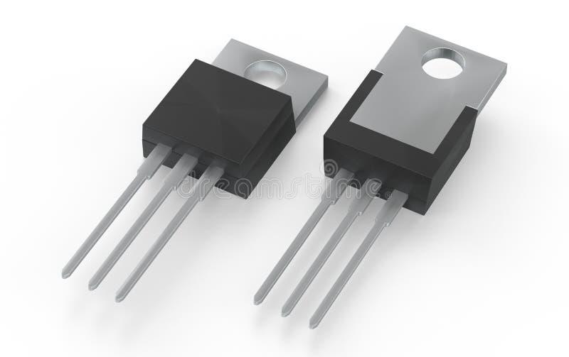 Ejemplo electrónico aislado del paquete 3d del MOSFET TO-220 ilustración del vector