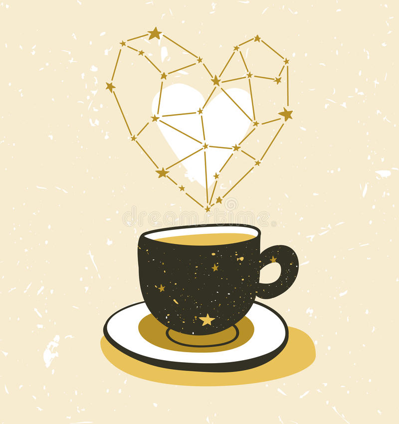 Ejemplo elegante con la taza de té o de café Diseño del cartel del inconformista libre illustration