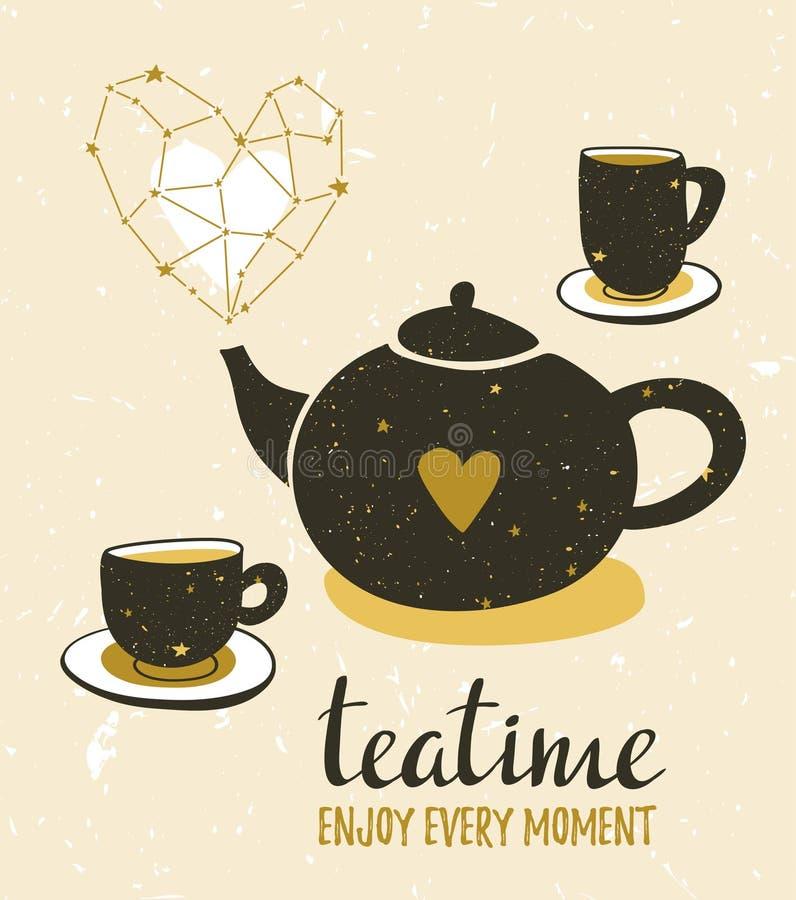 Ejemplo elegante con la vida inmóvil del té Sistema de tetera y de tazas Diseño del cartel del inconformista Fondo del vector con ilustración del vector