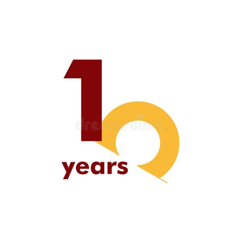 Ejemplo elegante del diseño de la plantilla del vector del número del aniversario de 10 años stock de ilustración