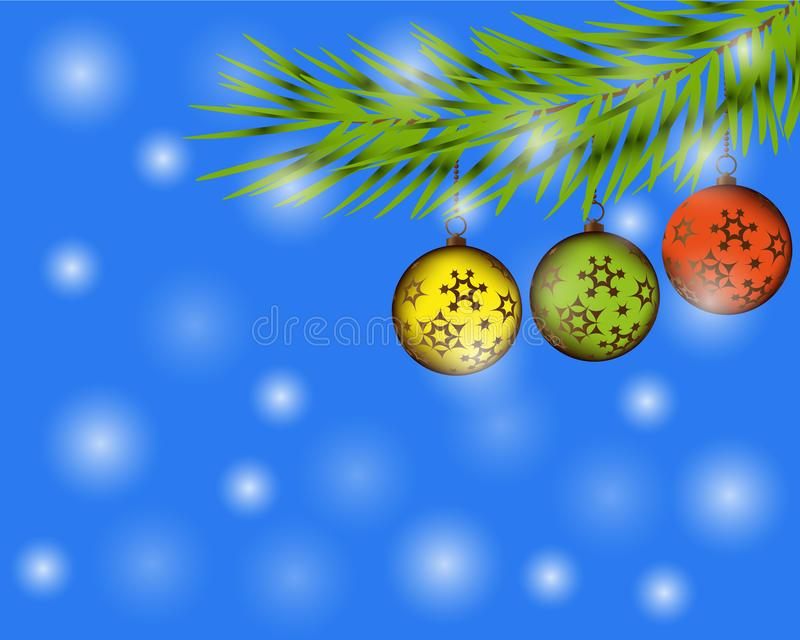Ejemplo elegante del oro de la Navidad con las bolas de los christmass Fondo elegante del vector con las ramas del abeto Bandera  stock de ilustración