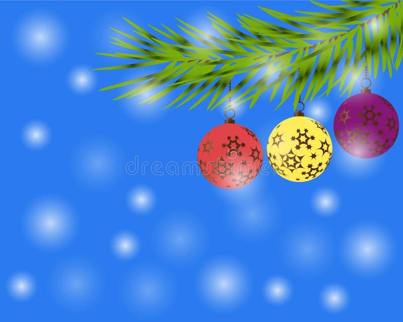 Ejemplo elegante del oro de la Navidad con las bolas de los christmass Fondo elegante del vector con las ramas del abeto Bandera  ilustración del vector