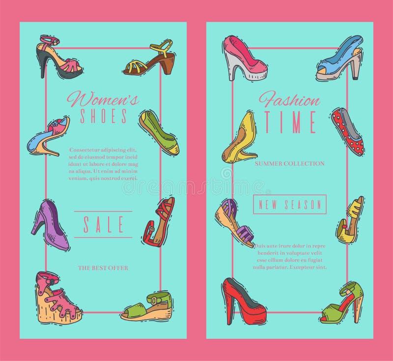 Ejemplo elegante del vector de la bandera del calzado de los pares de los zapatos de la mujer alto Cartel de moda del talón de la ilustración del vector