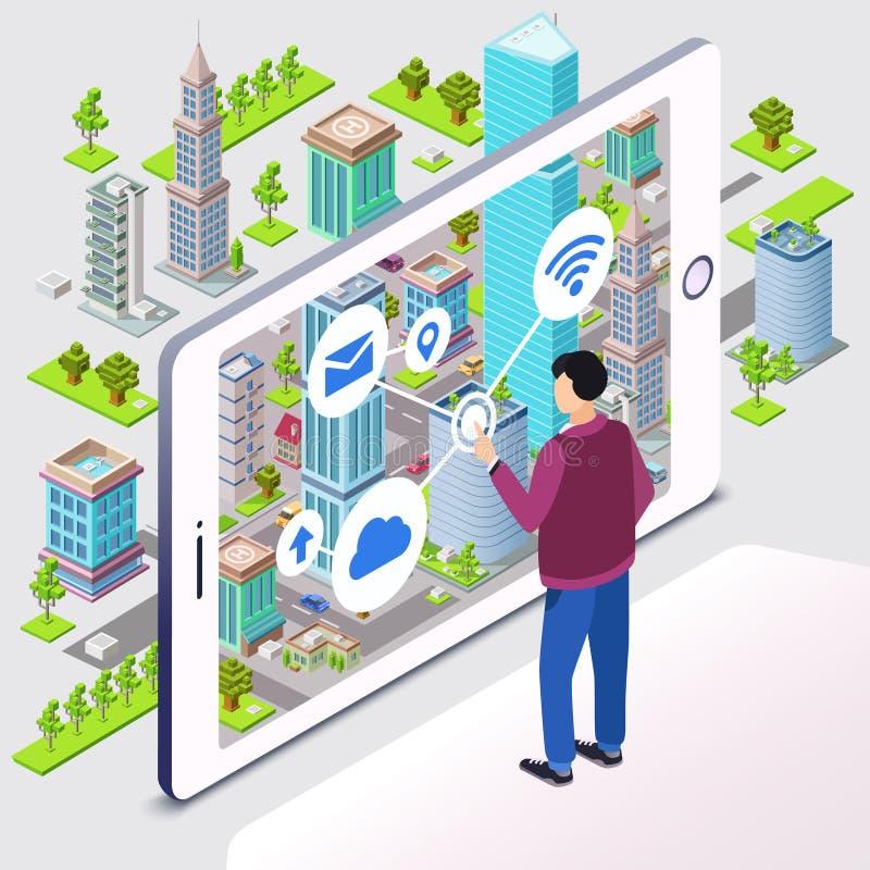 Ejemplo elegante del vector de la ciudad de la tecnología inalámbrica del app del smartphone stock de ilustración