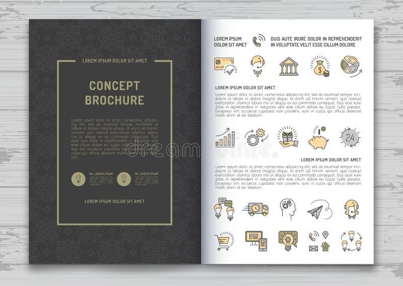 Ejemplo elegante del vector de la cubierta de la identidad de marca de la plantilla del diseño del folleto del negocio ilustración del vector
