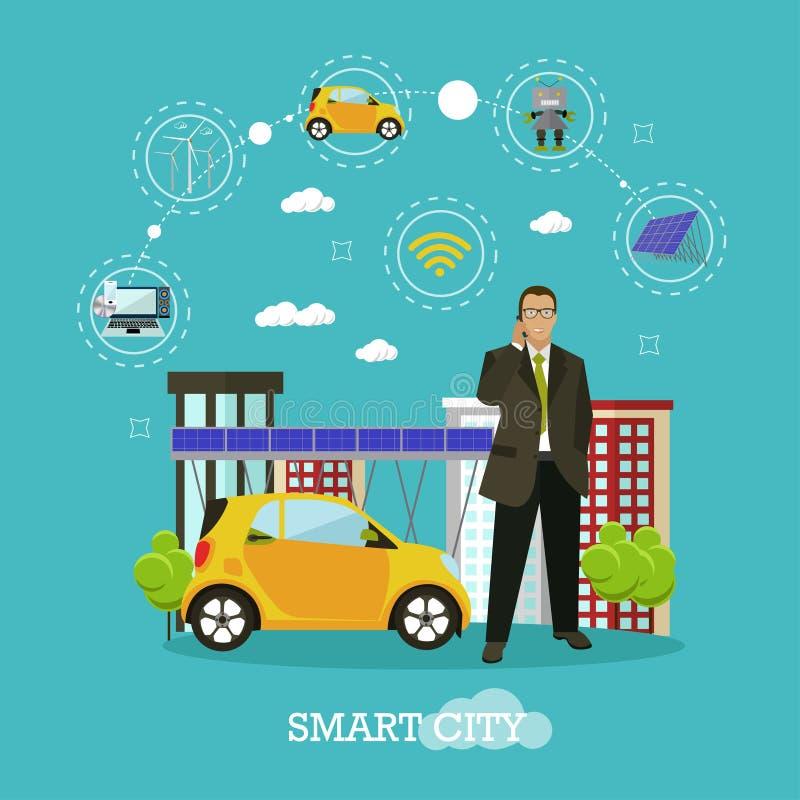 Ejemplo elegante del vector del concepto de la ciudad en estilo plano El hombre de negocios habla por smartphone Internet de cosa ilustración del vector